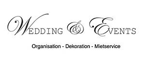 Logo 'Wedding & Events' für Organisation, Dekoration und Mietservice